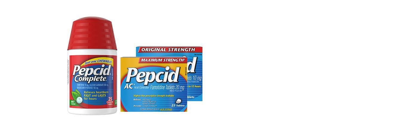 Pack shot of Pepcid Complete, Original Strength Pepcid AC & Maximum Strength Pepcid AC