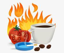 coffee, tomatoes, cigarettes and fire