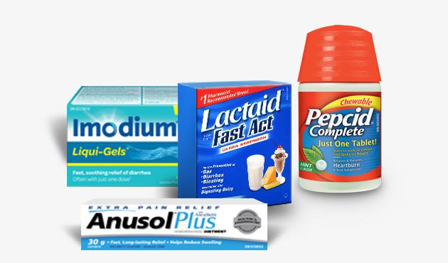 Imodium Liqui-Gels, Lactaid Fast Act and Pepcid Complete and Anusol Plus