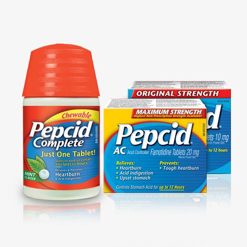 Pepcid Complete, Pepcid AC Maximum Strength and Pepcid AC Original Strength package