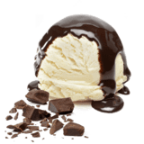 vanilla ice cream with chocolate and hot fudge